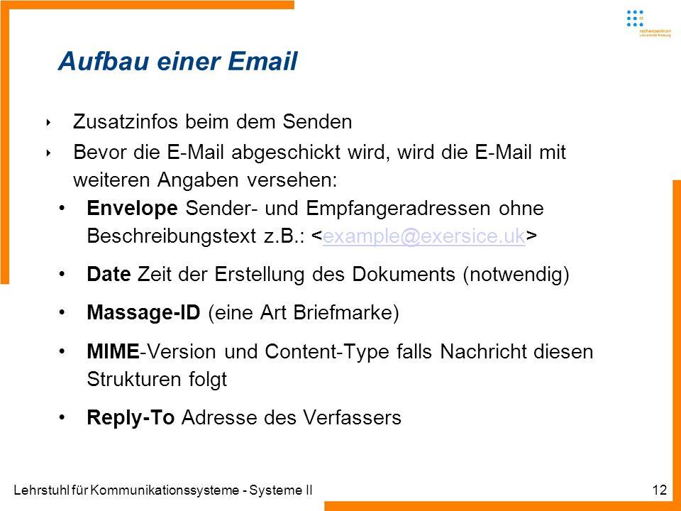 Aufbau einer Email Zusatzinfos beim dem Senden