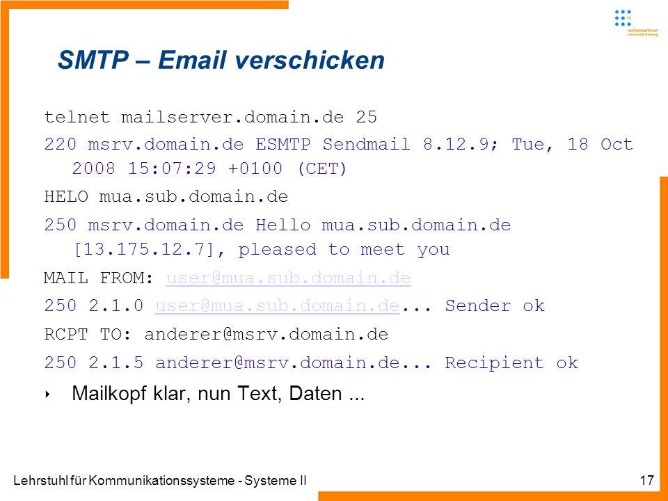 SMTP – Email verschicken