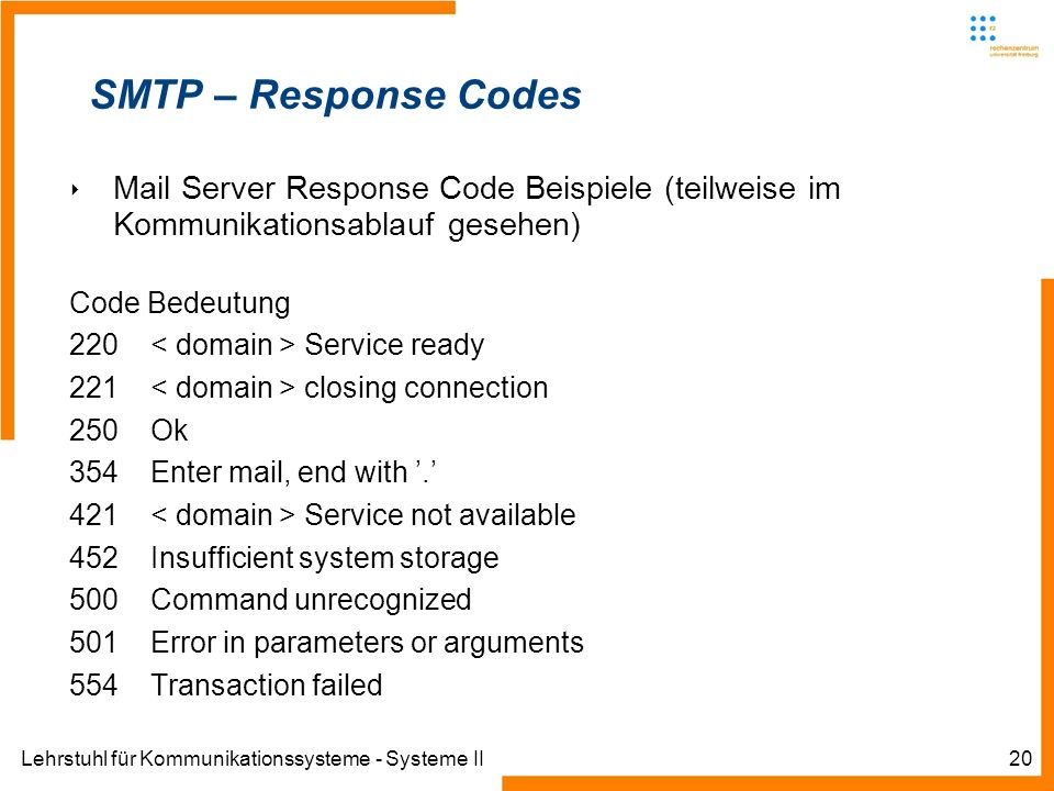 SMTP – Response CodesMail Server Response Code Beispiele (teilweise im Kommunikationsablauf gesehen)