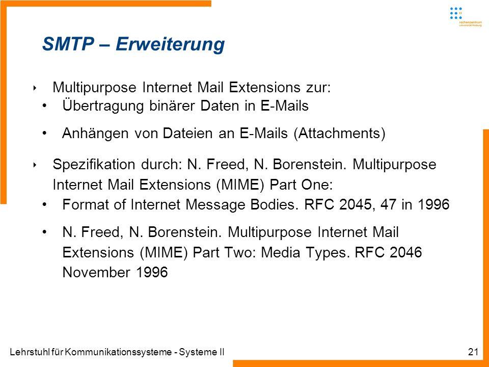 SMTP – Erweiterung Multipurpose Internet Mail Extensions zur: