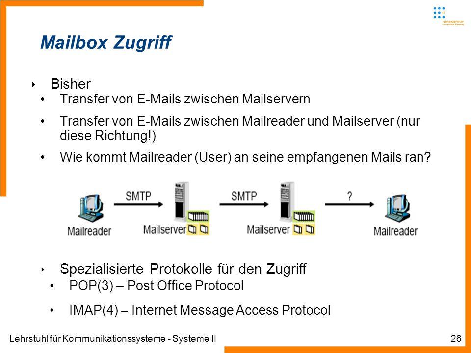 Mailbox Zugriff Bisher Spezialisierte Protokolle für den Zugriff
