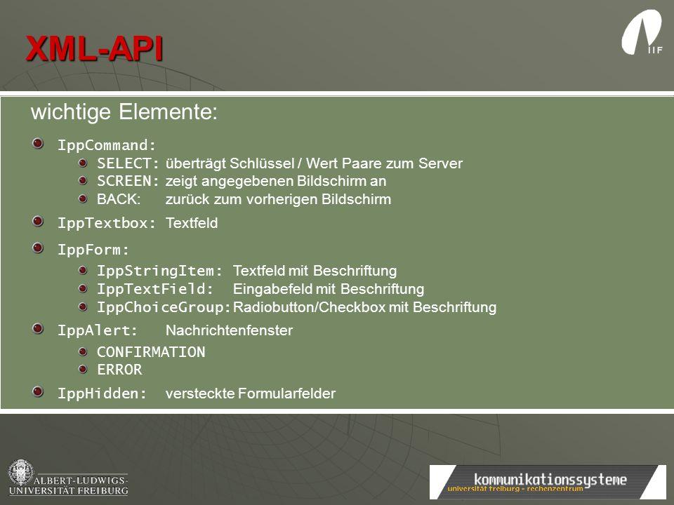 XML-API wichtige Elemente: test IppCommand: