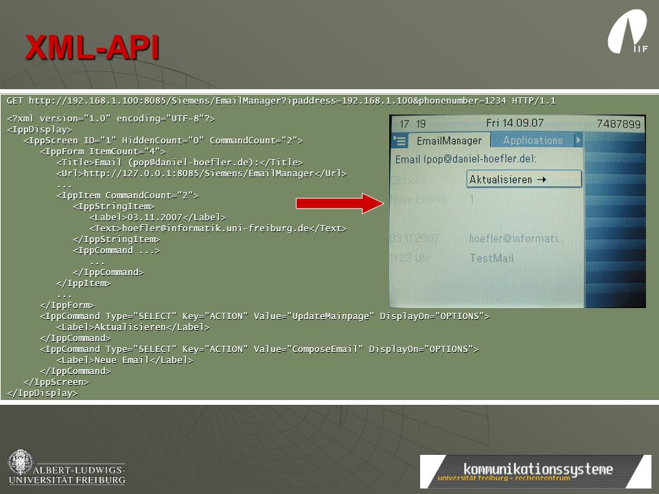 XML-API GET http://192.168.1.100:8085/Siemens/EmailManager ipaddress=192.168.1.100&phonenumber=1234 HTTP/1.1.