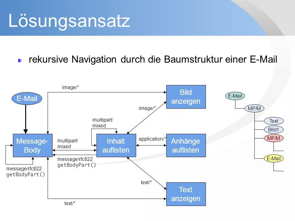 Lösungsansatz rekursive Navigation durch die Baumstruktur einer E-Mail