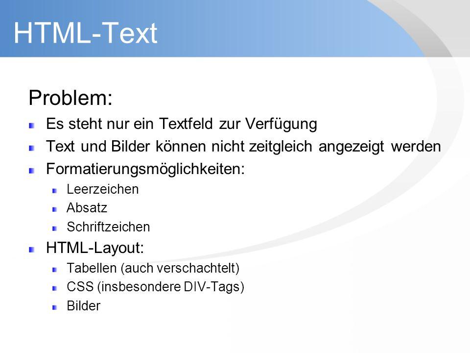 HTML-Text Problem: Es steht nur ein Textfeld zur Verfügung