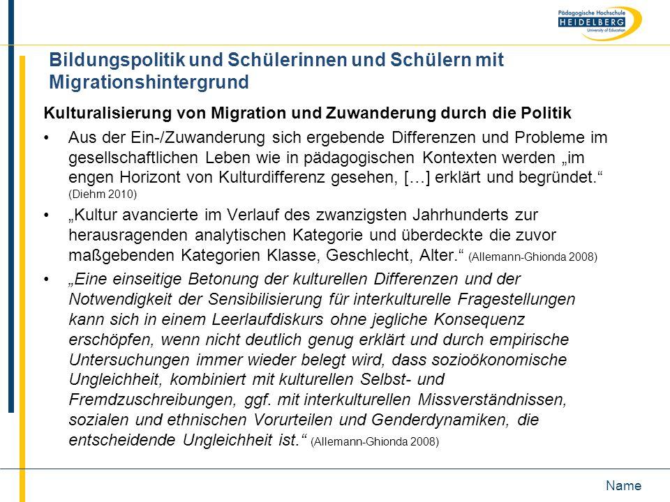 Bildungspolitik und Schülerinnen und Schülern mit Migrationshintergrund