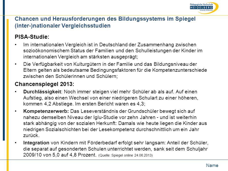 Chancen und Herausforderungen des Bildungssystems im Spiegel (inter-)nationaler Vergleichsstudien