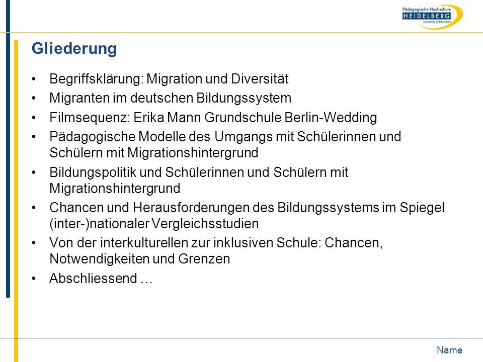 Gliederung Begriffsklärung: Migration und Diversität