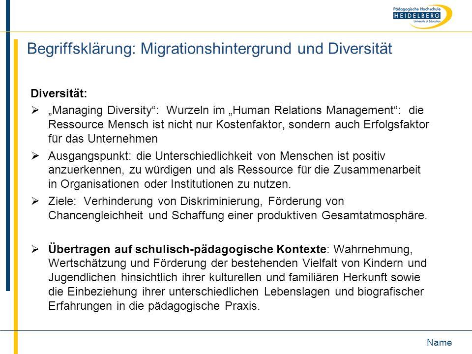 Begriffsklärung: Migrationshintergrund und Diversität