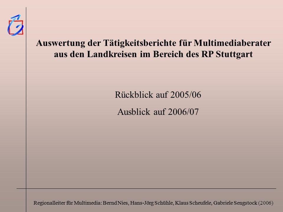 Auswertung der Tätigkeitsberichte für Multimediaberater aus den Landkreisen im Bereich des RP Stuttgart
