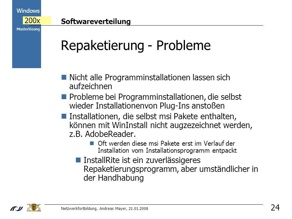 Repaketierung - Probleme