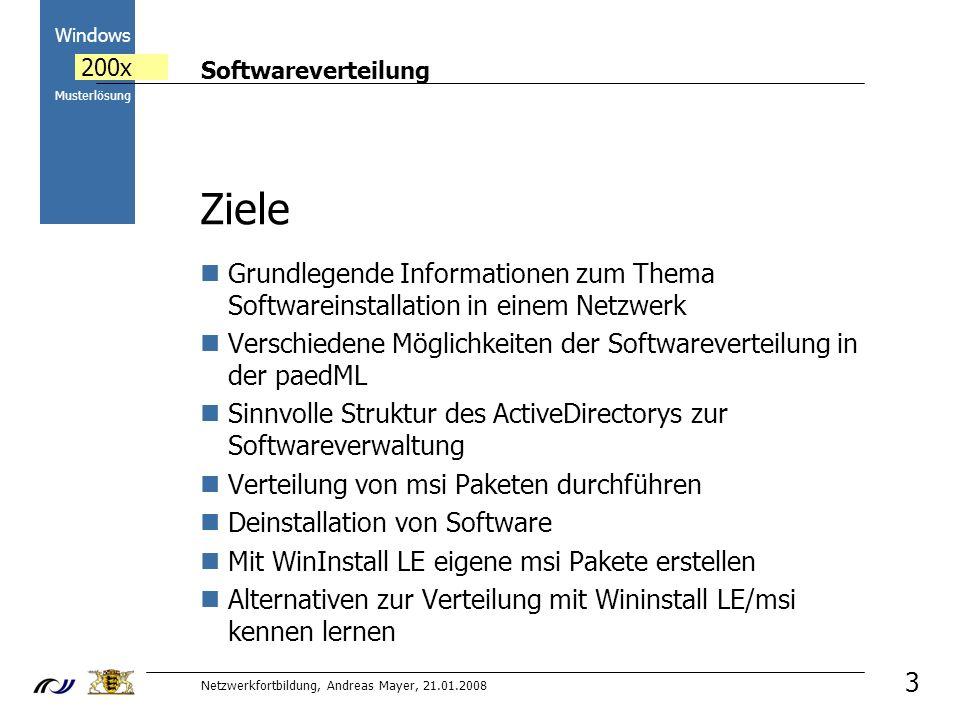 Ziele Grundlegende Informationen zum Thema Softwareinstallation in einem Netzwerk. Verschiedene Möglichkeiten der Softwareverteilung in der paedML.