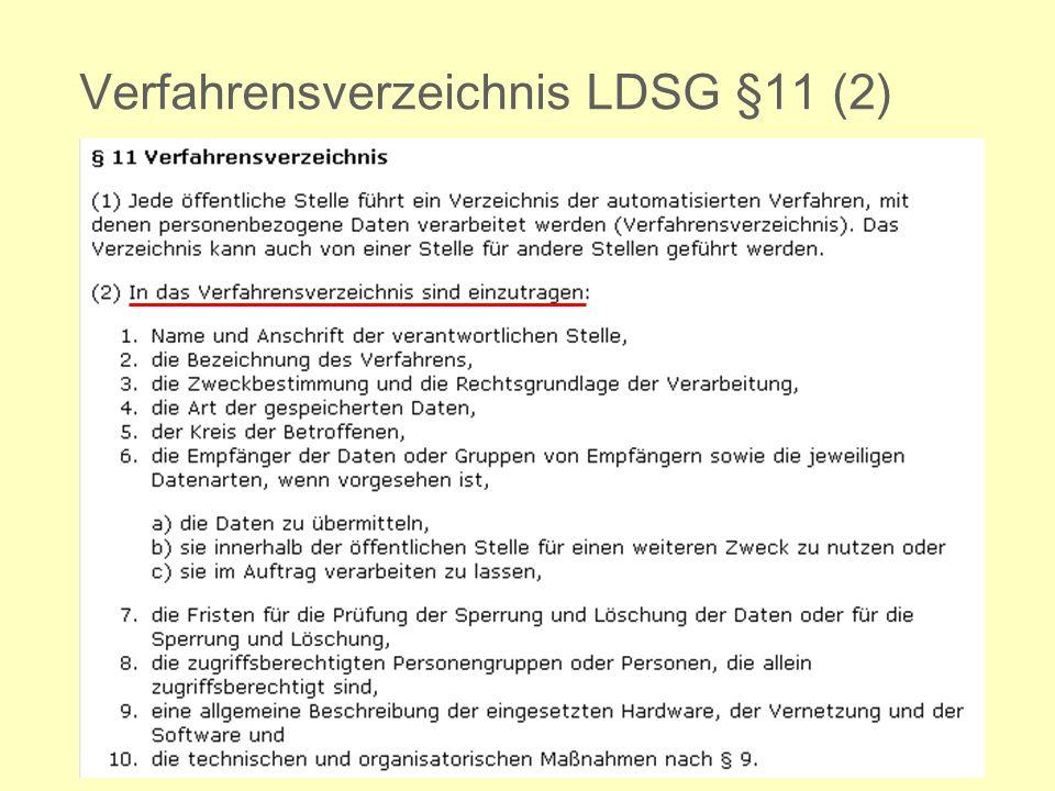 Verfahrensverzeichnis LDSG §11 (2)