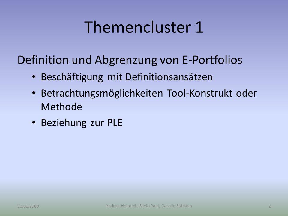 Themencluster 1 Definition und Abgrenzung von E-Portfolios