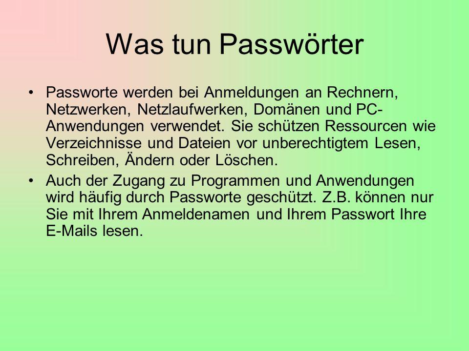 Was tun Passwörter