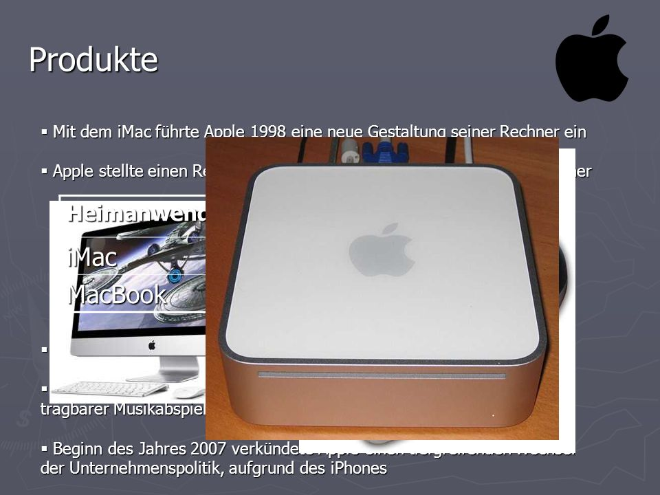 Produkte iMac MacPro MacBook MacBook Pro Heimanwender Profi