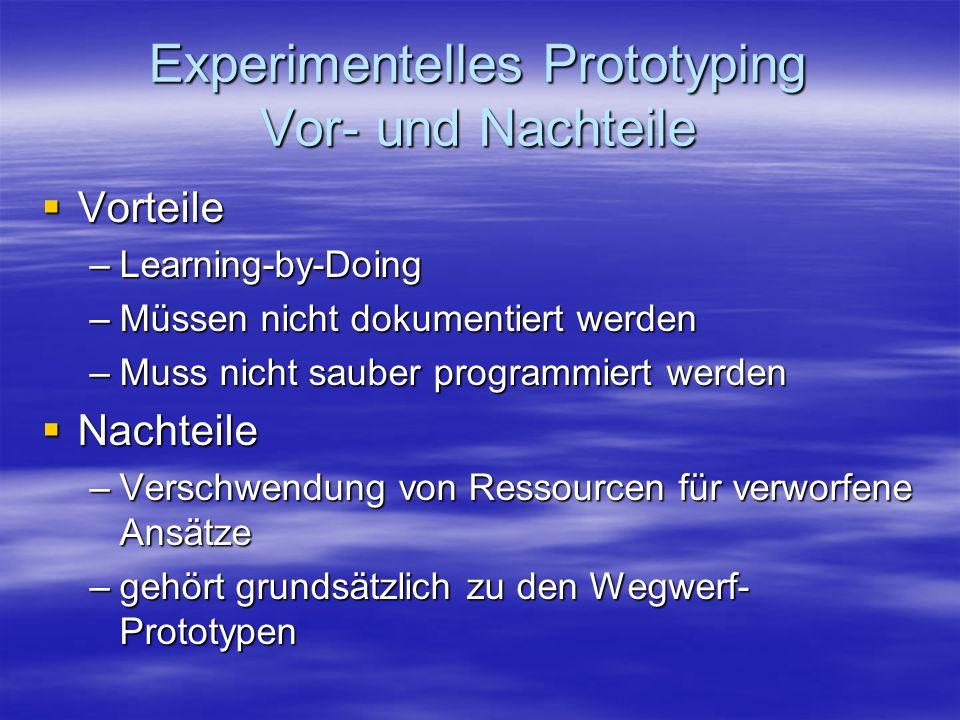 Experimentelles Prototyping Vor- und Nachteile