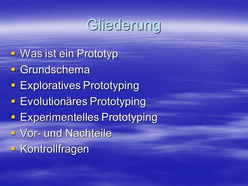 Gliederung Was ist ein Prototyp Grundschema Exploratives Prototyping