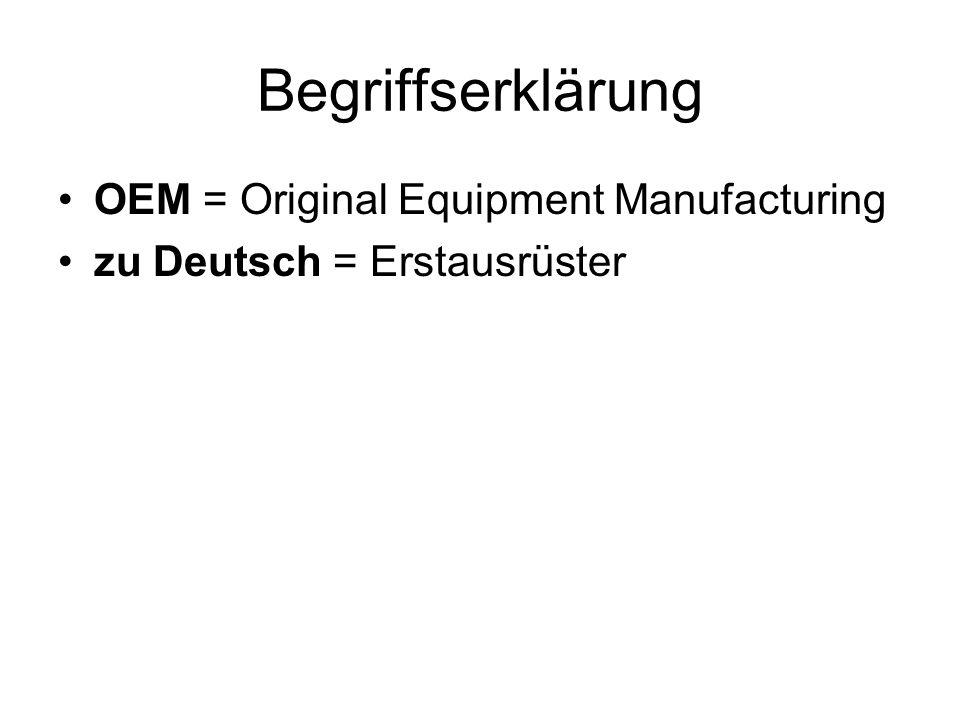 Begriffserklärung OEM = Original Equipment Manufacturing