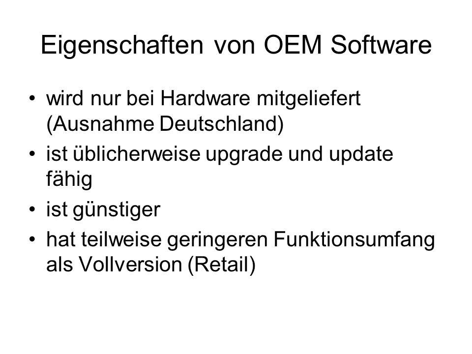 Eigenschaften von OEM Software