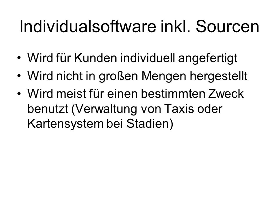 Individualsoftware inkl. Sourcen