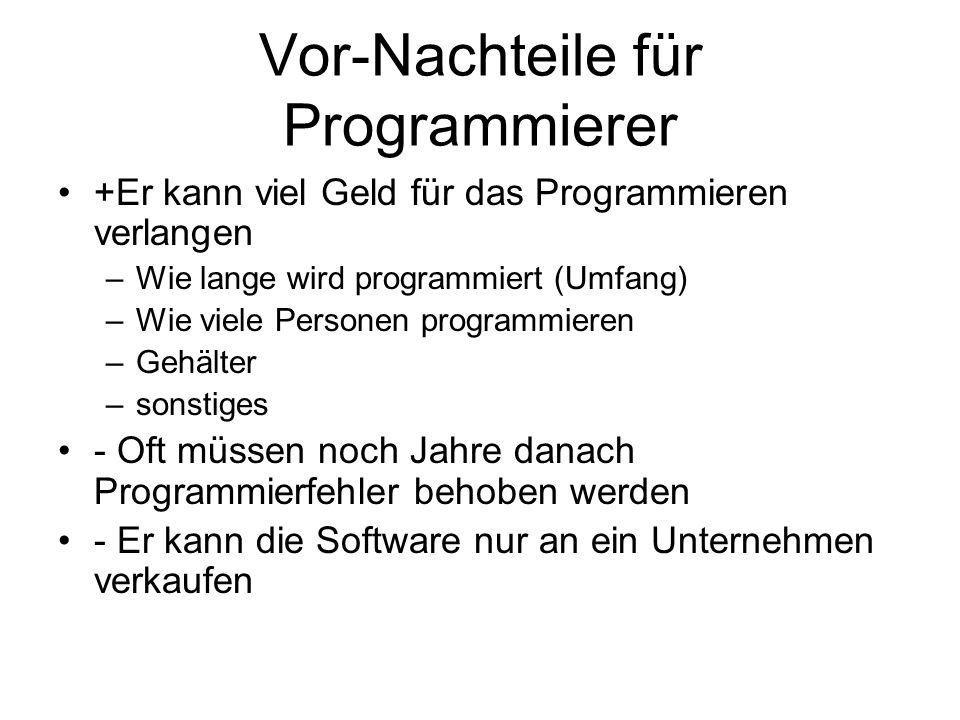 Vor-Nachteile für Programmierer