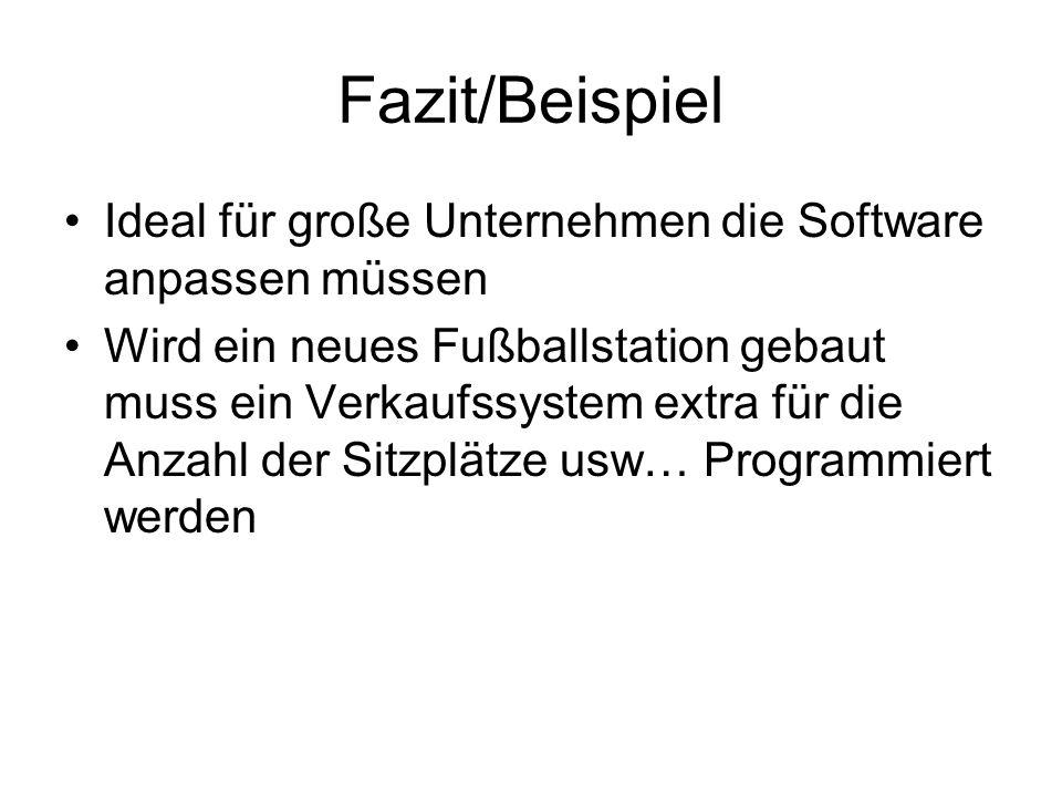 Fazit/Beispiel Ideal für große Unternehmen die Software anpassen müssen.