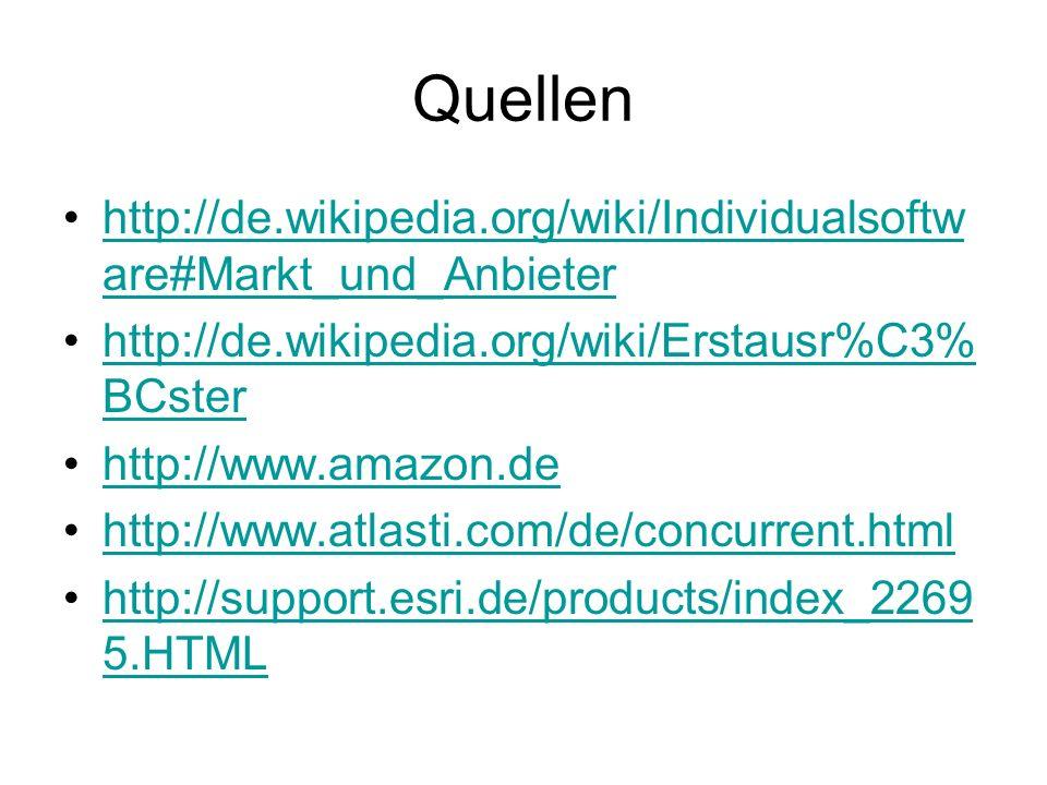 Quellen http://de.wikipedia.org/wiki/Individualsoftware#Markt_und_Anbieter. http://de.wikipedia.org/wiki/Erstausr%C3%BCster.