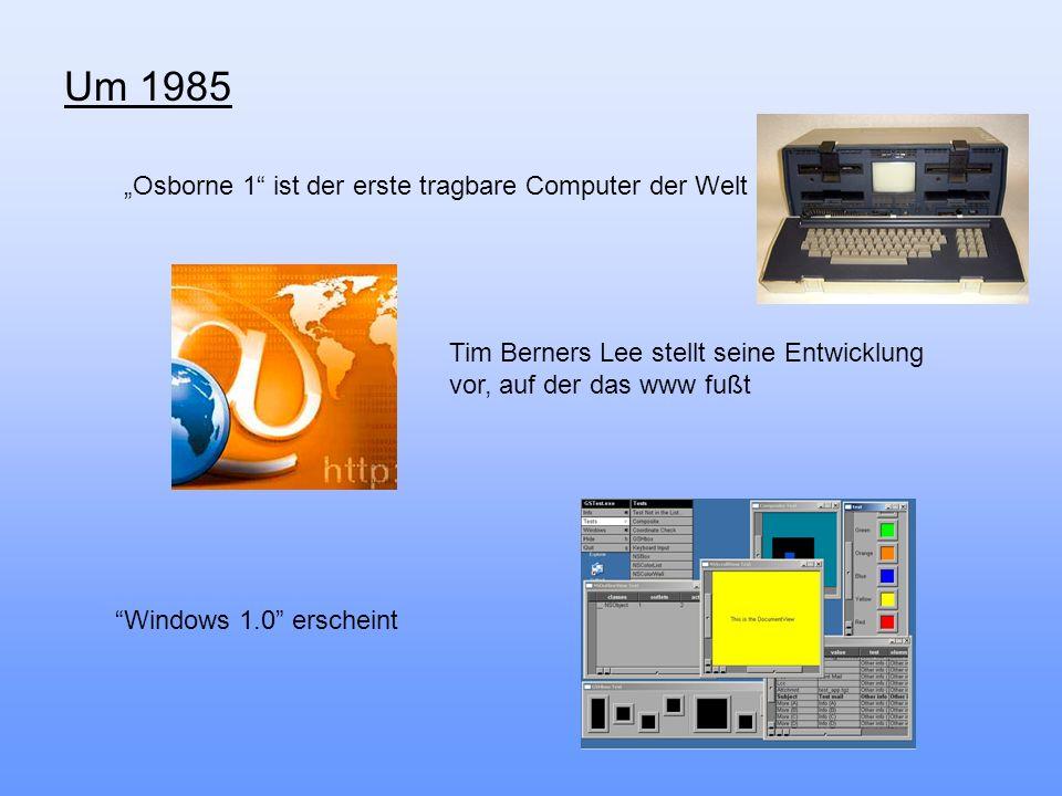 """Um 1985 """"Osborne 1 ist der erste tragbare Computer der Welt"""