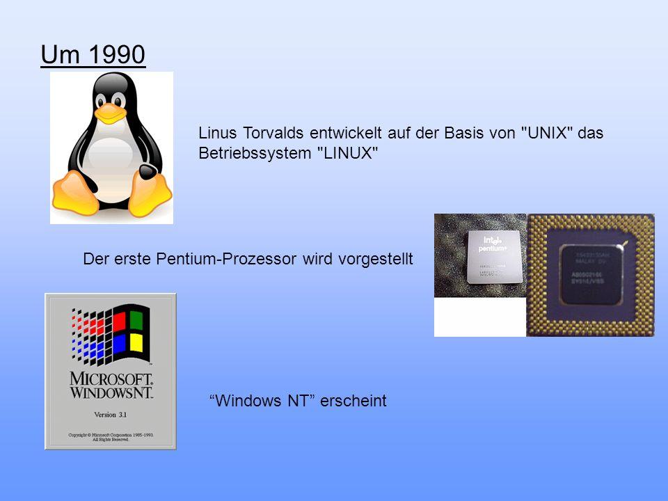 Um 1990 Linus Torvalds entwickelt auf der Basis von UNIX das Betriebssystem LINUX Der erste Pentium-Prozessor wird vorgestellt.