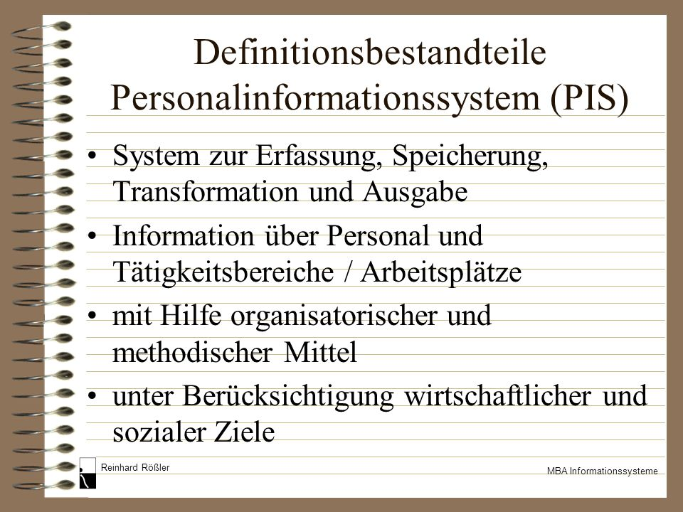 Definitionsbestandteile Personalinformationssystem (PIS)