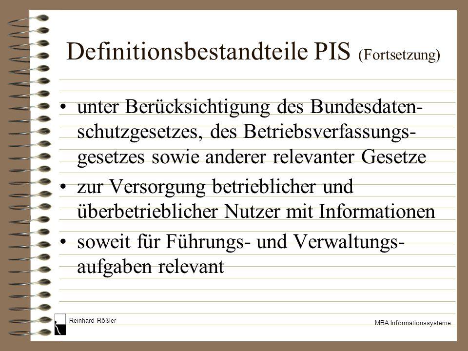 Definitionsbestandteile PIS (Fortsetzung)