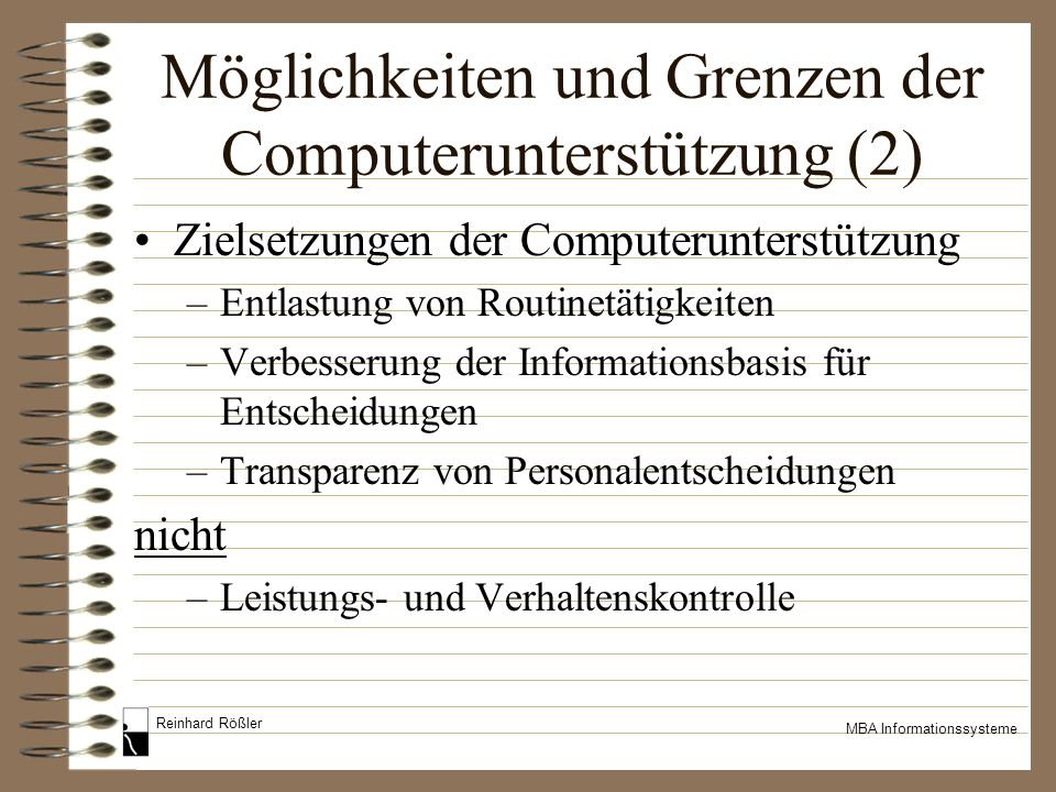 Möglichkeiten und Grenzen der Computerunterstützung (2)