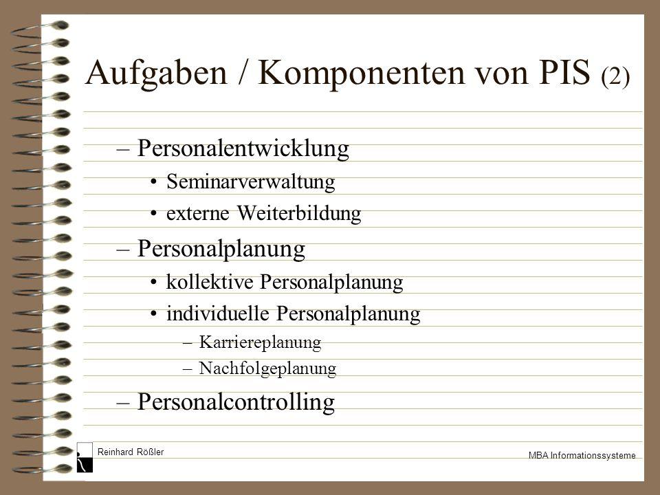Aufgaben / Komponenten von PIS (2)