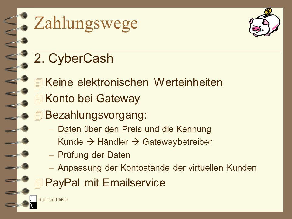 Zahlungswege 2. CyberCash Keine elektronischen Werteinheiten