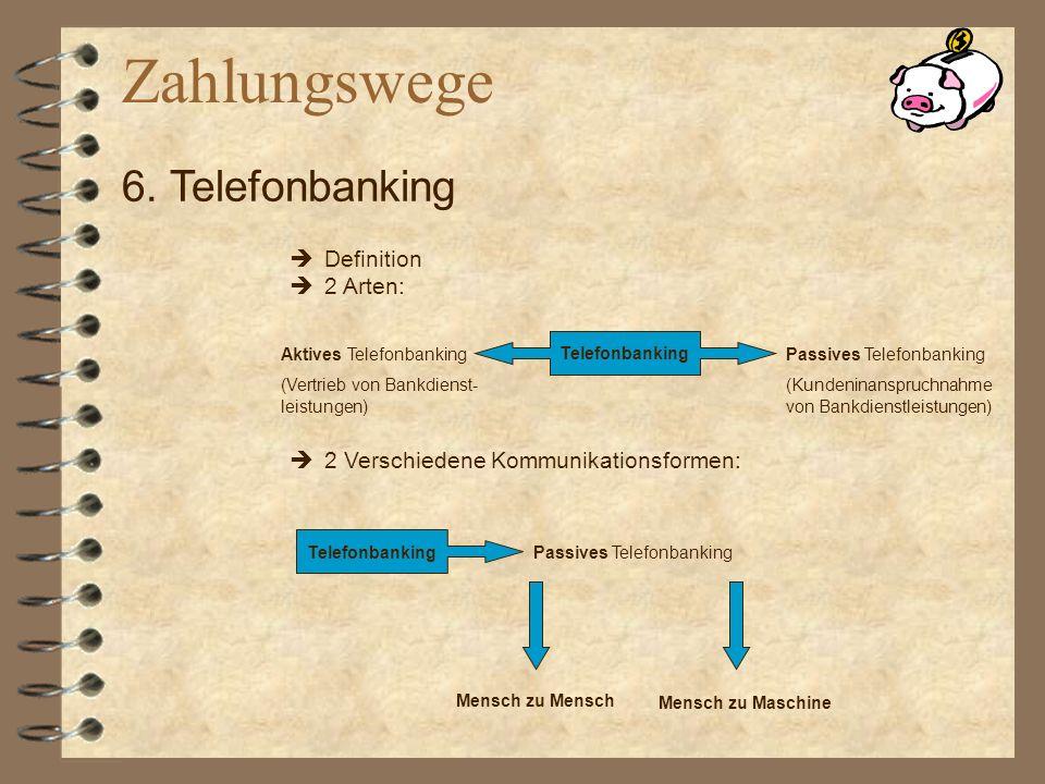 Zahlungswege 6. Telefonbanking Definition 2 Arten: