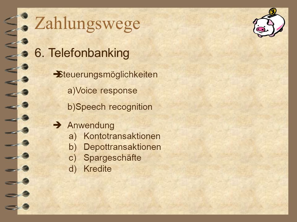 Zahlungswege 6. Telefonbanking Steuerungsmöglichkeiten Voice response