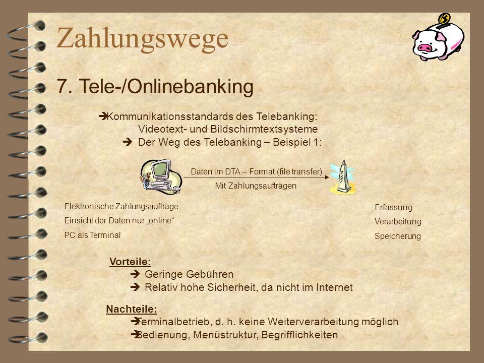 Zahlungswege 7. Tele-/Onlinebanking