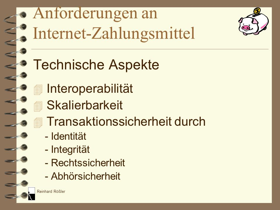 Anforderungen an Internet-Zahlungsmittel