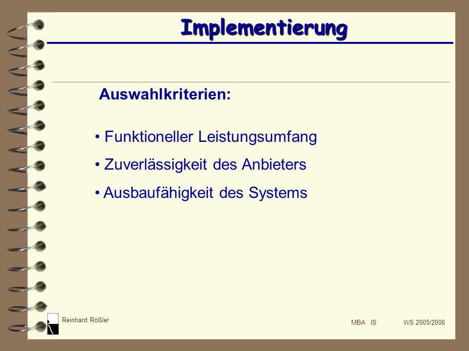 Implementierung Auswahlkriterien: Funktioneller Leistungsumfang