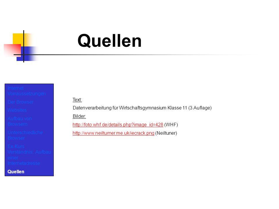 Quellen Internet Vorraussetzungen Der Browser Websites Text:
