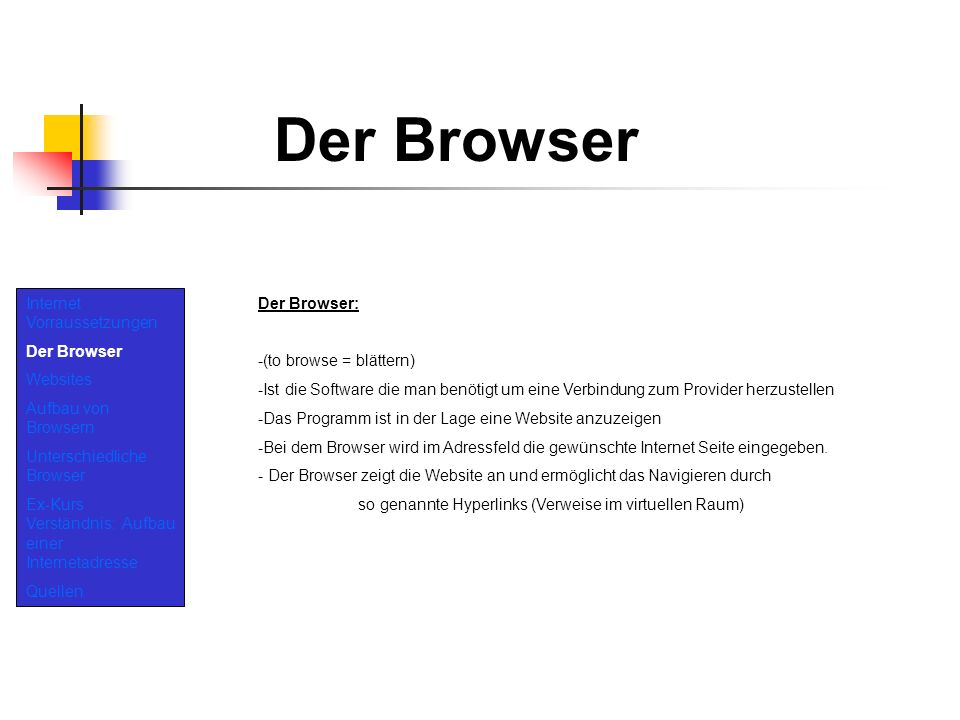 Der Browser Internet Vorraussetzungen Der Browser Websites