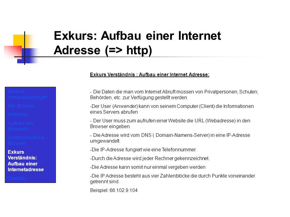 Exkurs: Aufbau einer Internet Adresse (=> http)