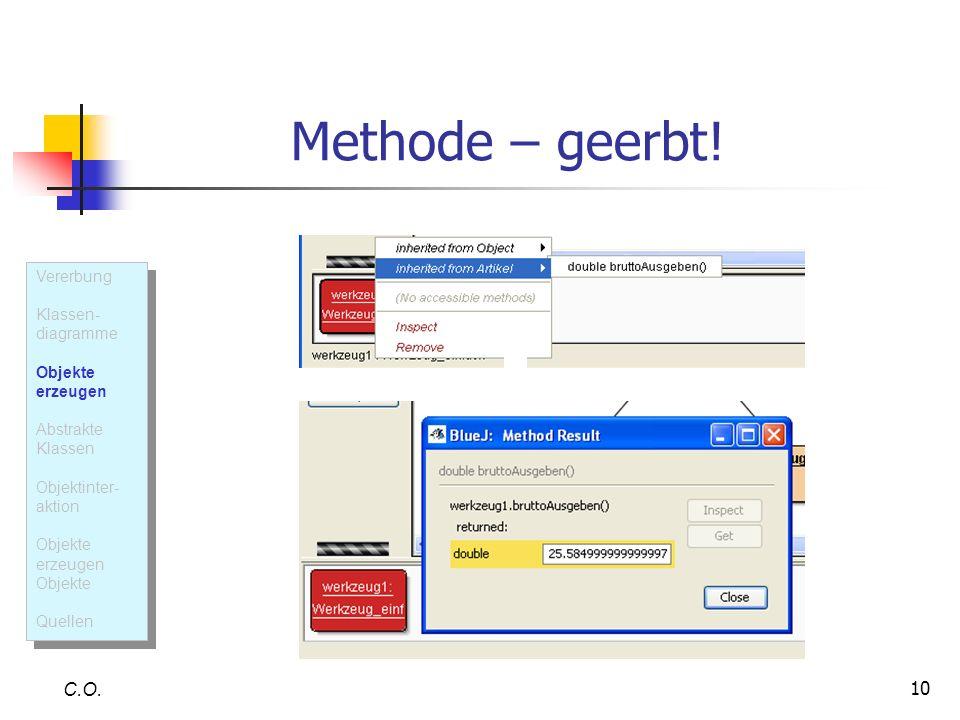 Methode – geerbt! C.O. Vererbung Klassen- diagramme Objekte erzeugen