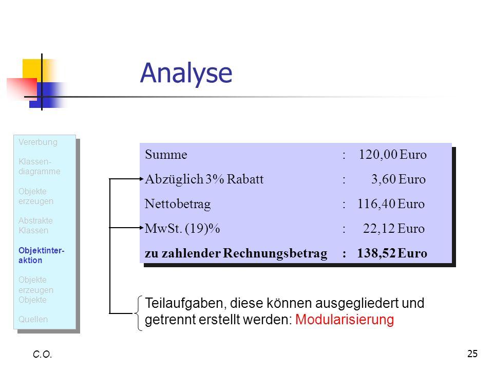 Analyse Summe : 120,00 Euro Abzüglich 3% Rabatt : 3,60 Euro