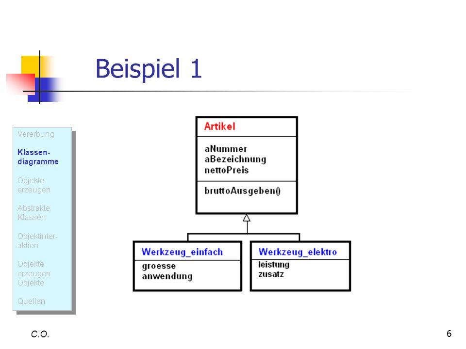 Beispiel 1 C.O. Vererbung Klassen- diagramme Objekte erzeugen
