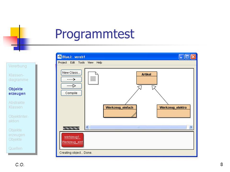 Programmtest C.O. Vererbung Klassen- diagramme Objekte erzeugen