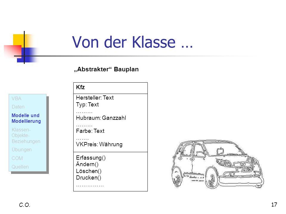 """Von der Klasse … """"Abstrakter Bauplan Kfz Hersteller: Text Typ: Text"""