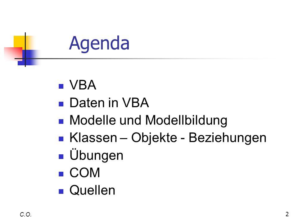 Agenda VBA Daten in VBA Modelle und Modellbildung