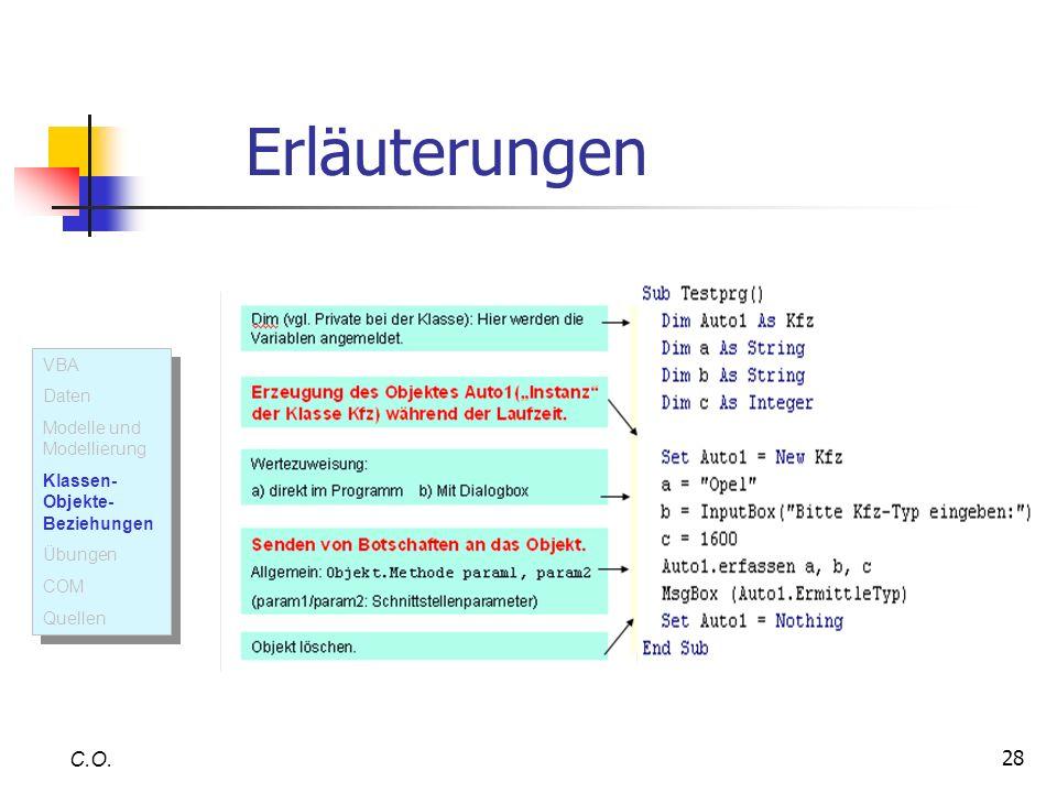 Erläuterungen C.O. VBA Daten Modelle und Modellierung